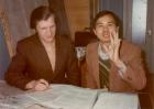 В. Сабельфельд и М. Миякава за работой, ВЦ, 1976 г.