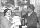 Г.В. Курляндчик и С.Г. Дробышевич в библиотеке А.П. Ершова